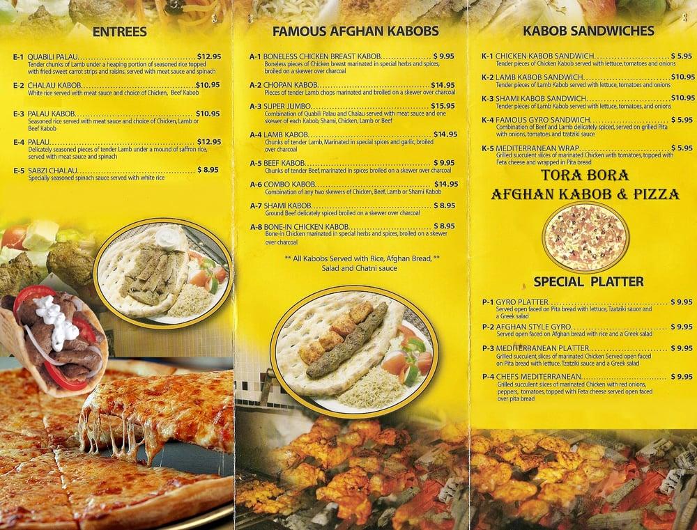 Tora bora afghan kebob pizza gesloten afghaans 79 for Afghan kebob cuisine menu