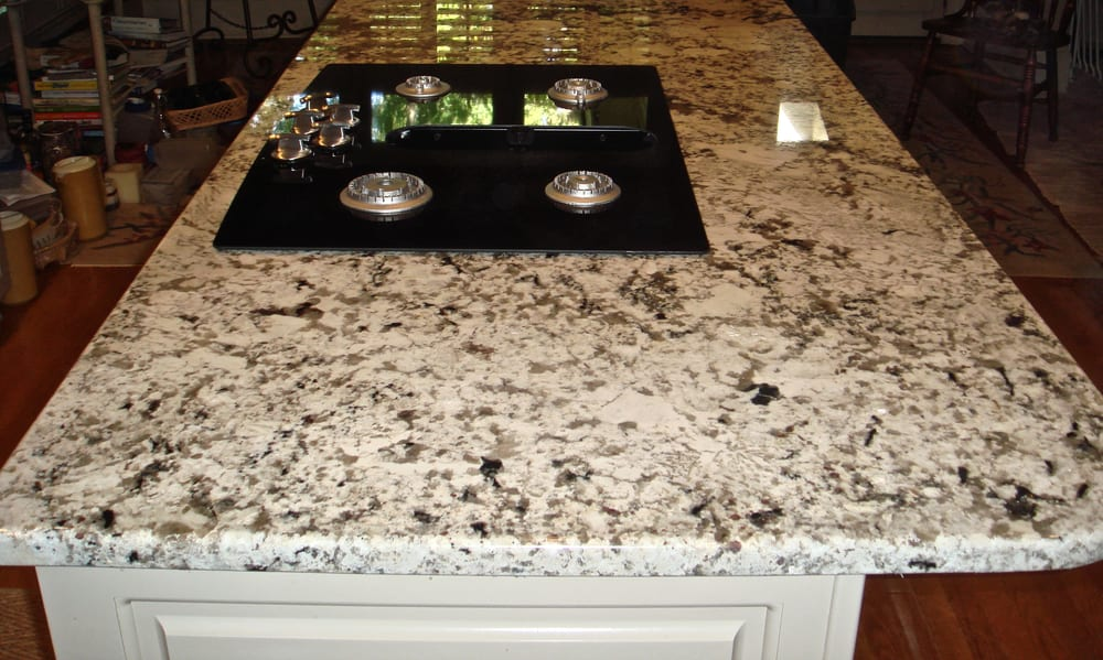 Alaska White Granite Kitchen Island with Cooktop - Yelp