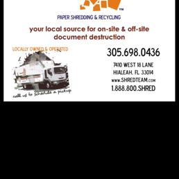 Shred Team - Shredding Services - 8131 NW 74th Ave, Miami, FL