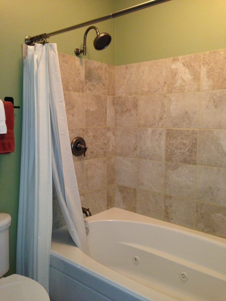 Double headed shower and jacuzzi tub in the Aspen suite. Wonderful ...