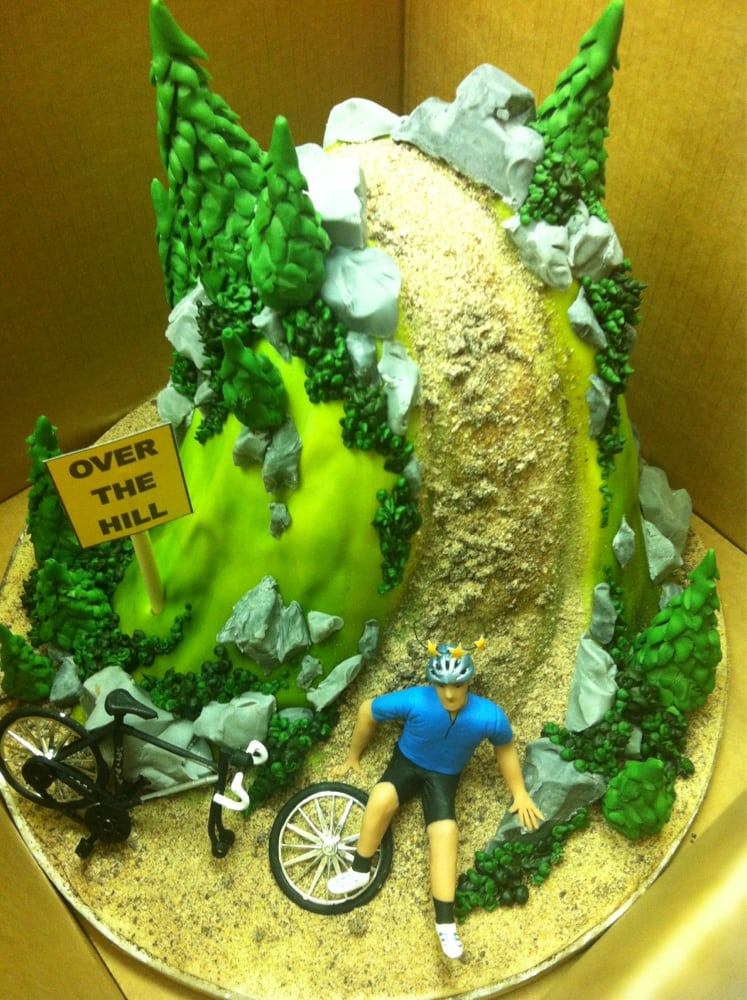 An Over The Hill Cake With A Cycling Theme For My Husbands 40th