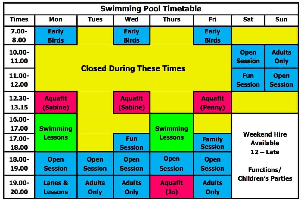 Swimming Pool Timetable Yelp