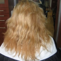 over processed blonde hair with curl prior to keratin