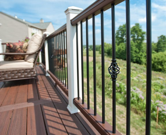 trex transcend decking and rails with decorative aluminum balusters yelp. Black Bedroom Furniture Sets. Home Design Ideas