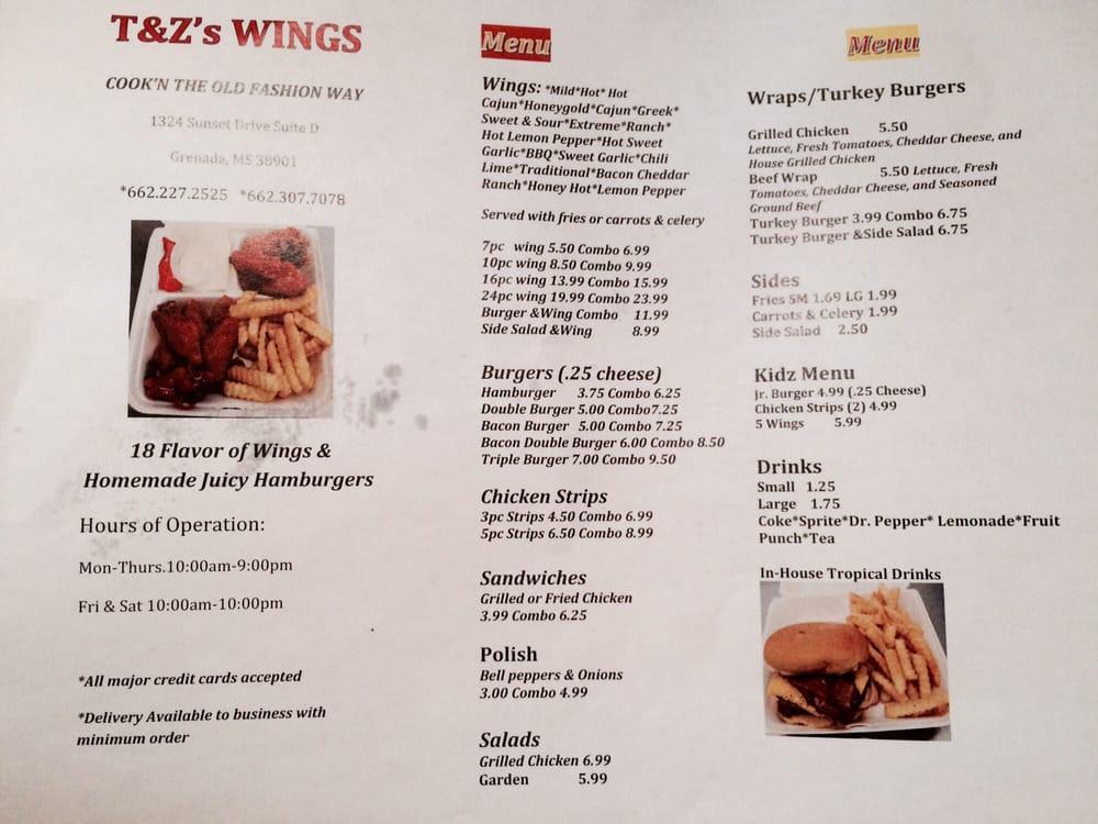 T&Z'S Wings: 1756 S Commerce St, Grenada, MS