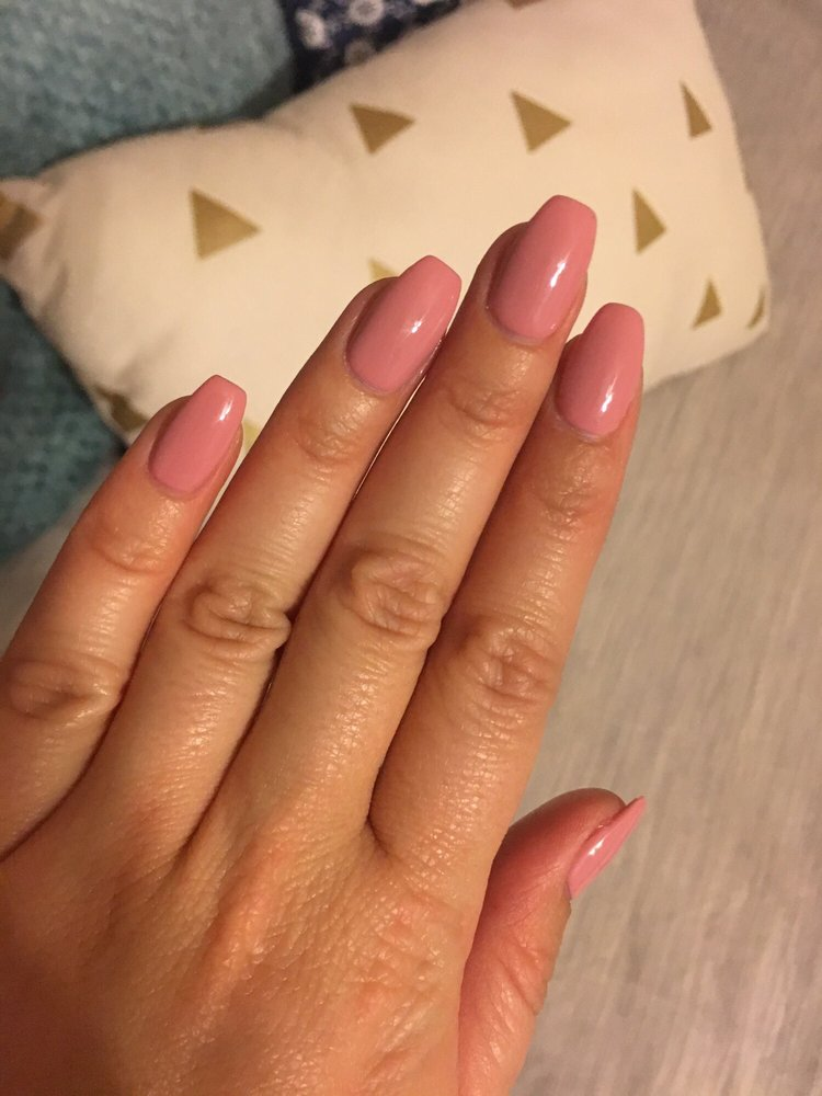 Short coffin acrylic nail with gel - Yelp