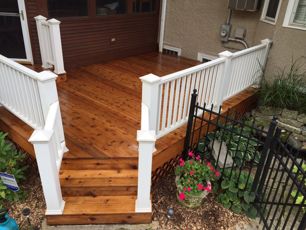 Brand new cedar decking stained with readyseal stain for Staining trex decking