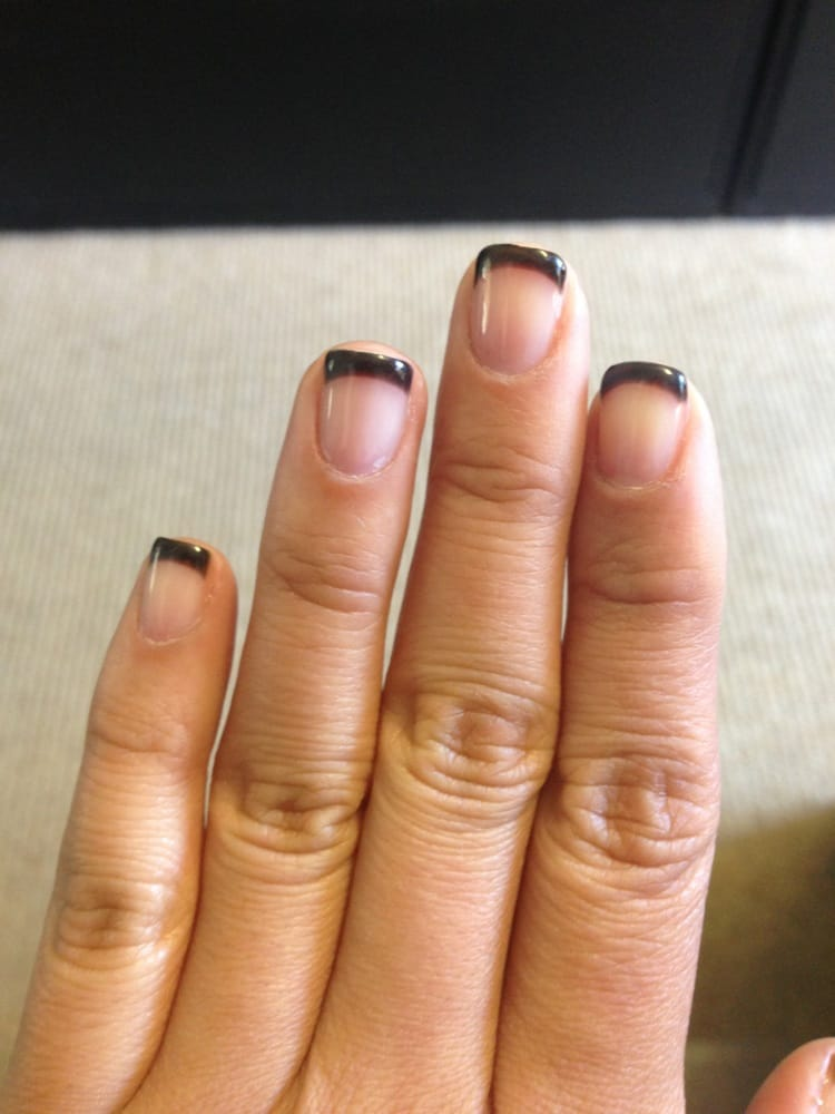 Gel French tip nails with black tips by Vivan - Yelp