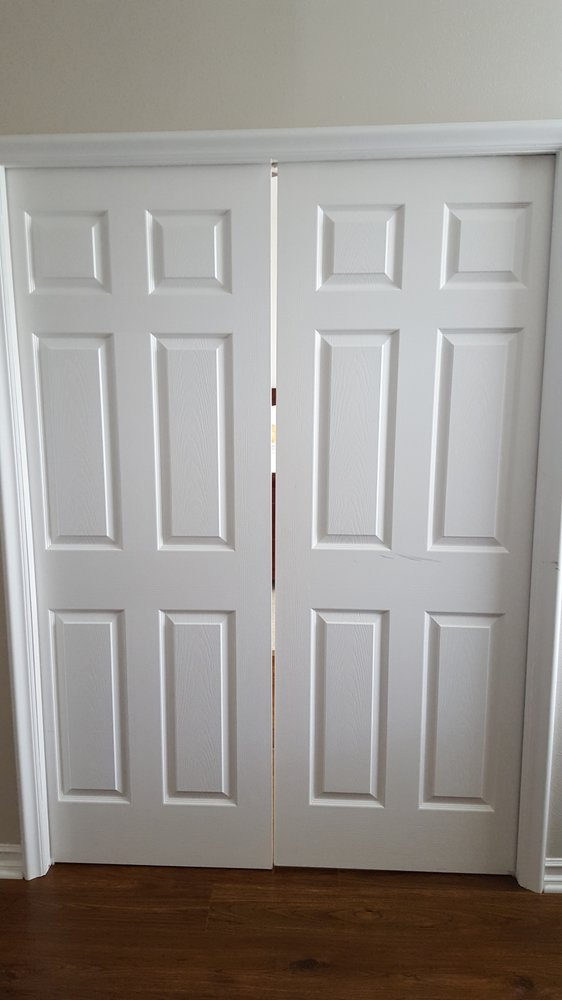 Doors are uneven and not level (wrong pocket door frame was used) - Yelp