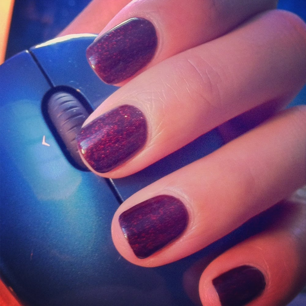 Gelish nail polish in dark burgundy with a layer of red glitter ...