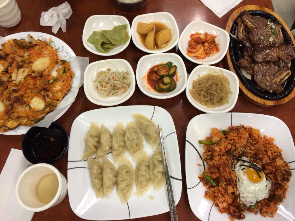 our dinner seafood and rice cake pancake kimchi and beef. Black Bedroom Furniture Sets. Home Design Ideas