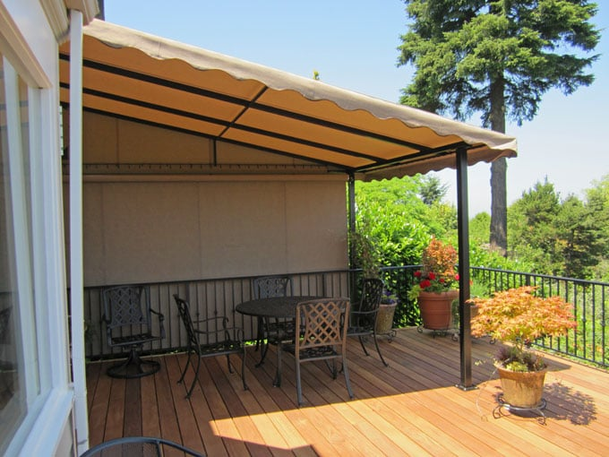 Deck awning with roll down side screen to increase weather ...