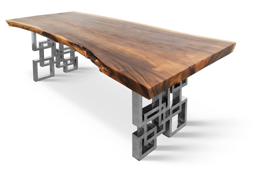 7 39 3 live edge hardwood dining table on polished custom for Steel dining table design