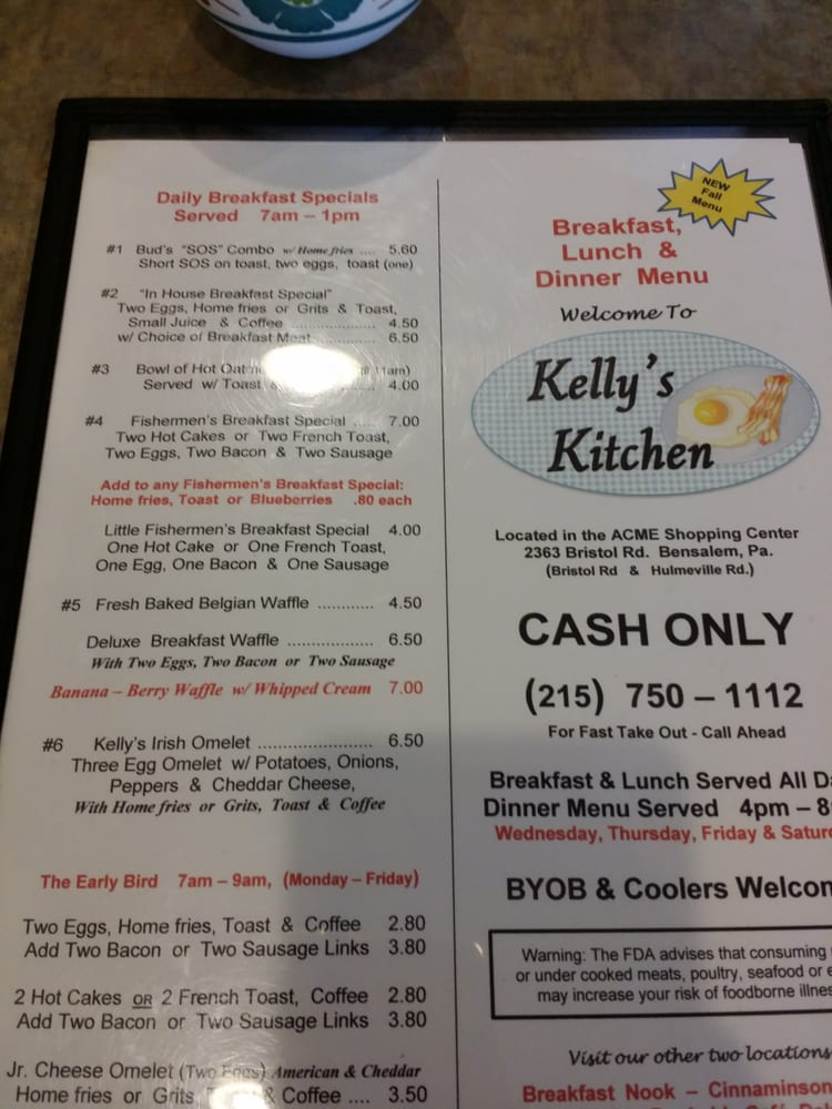 Kelly S Kitchen Bensalem Menu