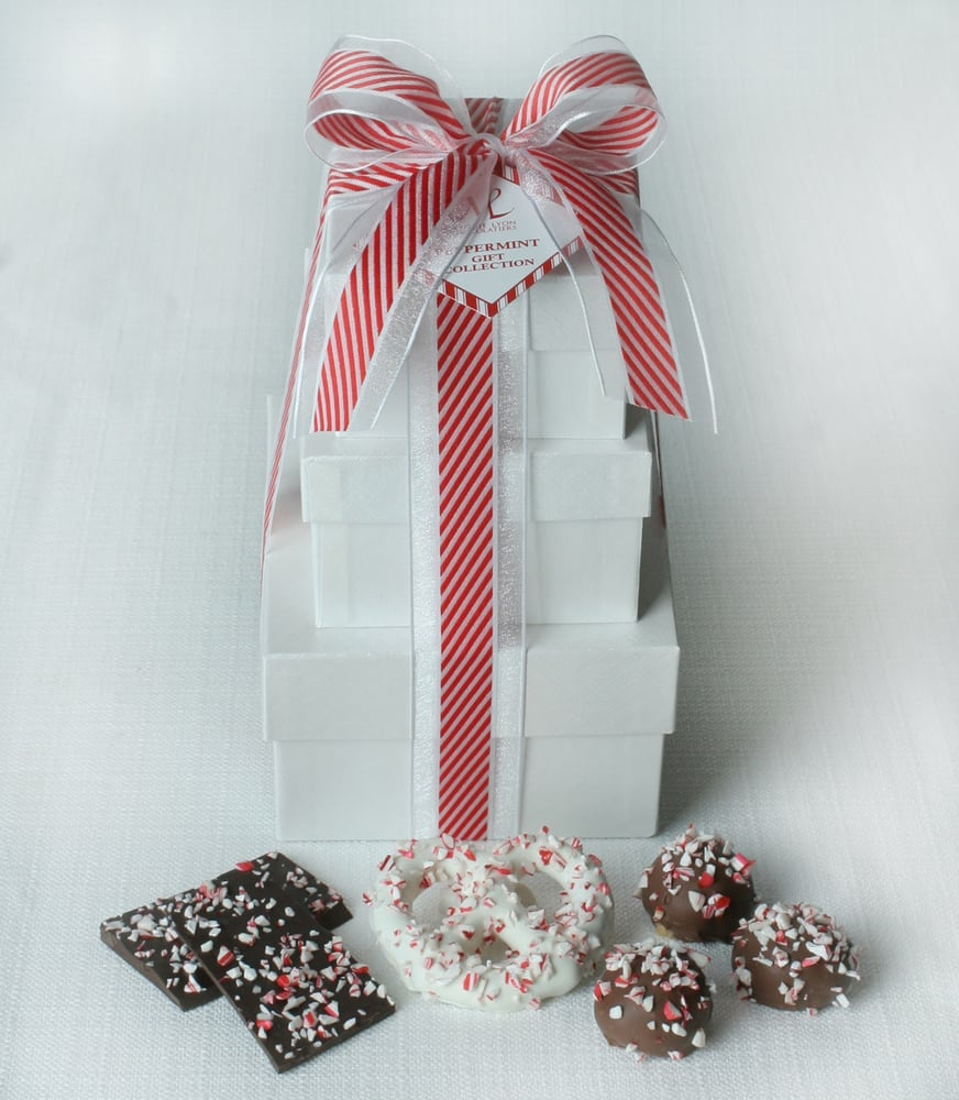 Peppermint Gift Tower (Dark Chocolate Peppermint Bark, White ...