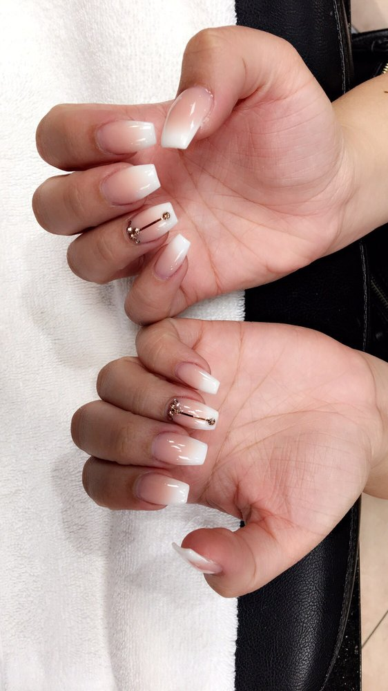 French Fade White Tip Gels Nails Wrose Gold Gem Design Yelp