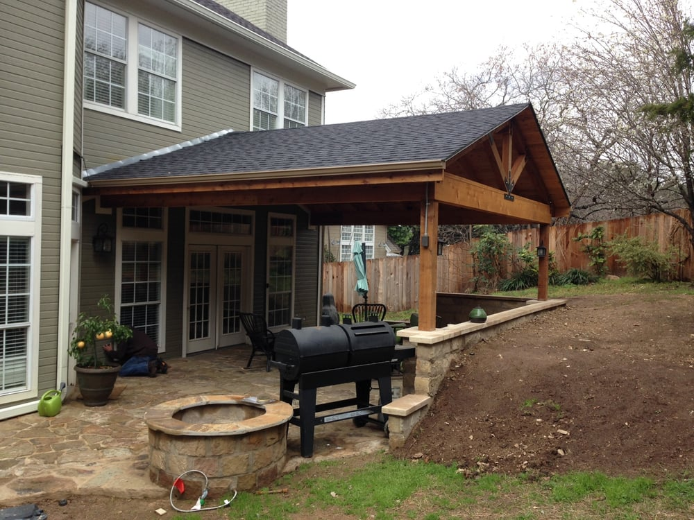 New patio cover retaining wall and fire pit yelp for Landscaping rocks austin