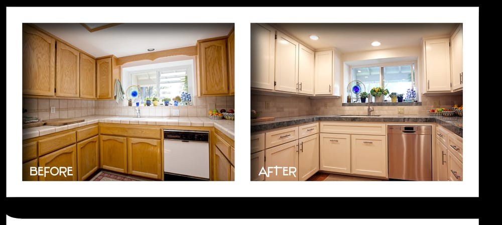 7 day 15 000 kitchen remodel featuring granite countertops painted cabinets tile backspalsh