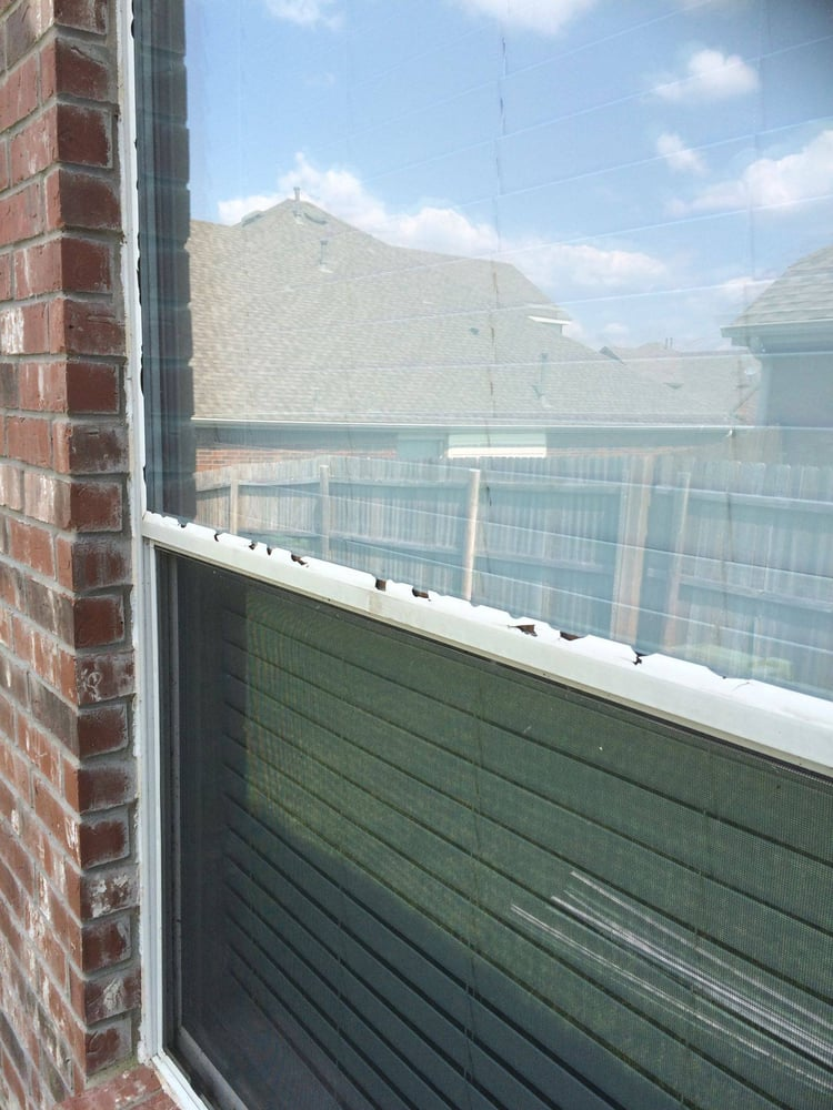 Window Glazing Bead Replacement : Hail damaged glazing bead before replacement yelp