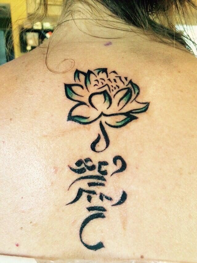 Lotus flower and lovingkindness in tibetan sanskrit from tashi photo of good omen tattoo santa cruz ca united states lotus flower mightylinksfo