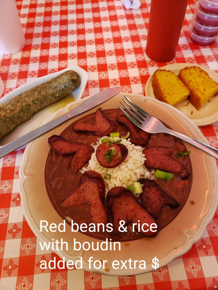 Red Beans Rice With Sausage And A Boudin Link On The Side