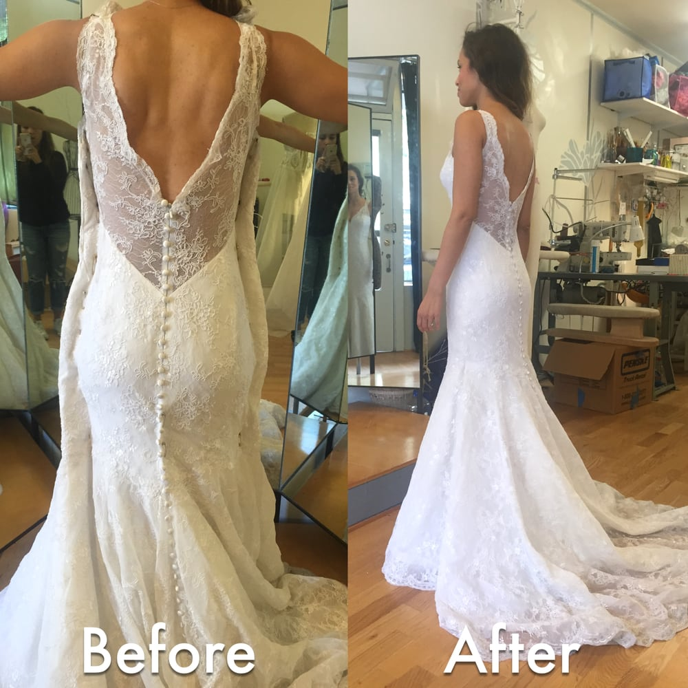 Before after wedding dress alteration initially it was for Bride dress after wedding