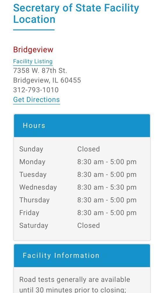 Driver Services Facility: 7358 W 87th St, Bridgeview, IL