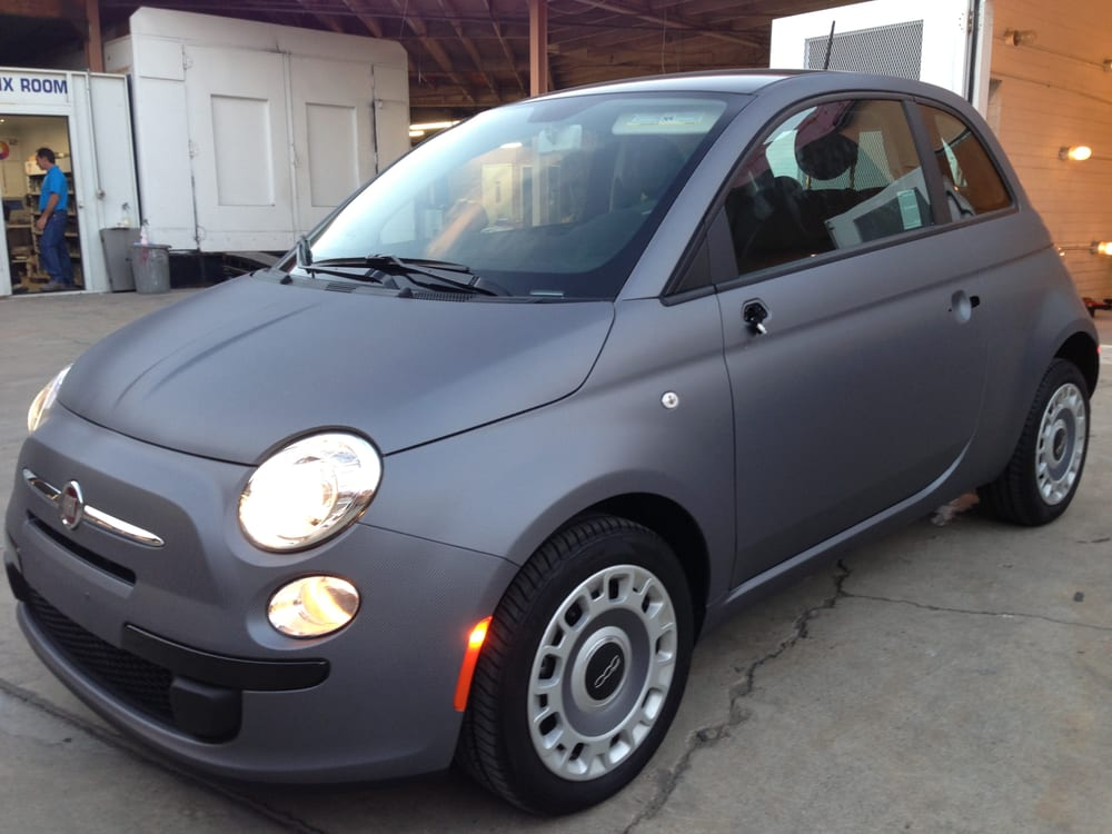Fiat 500 Full Car Anthracite Carbon Fiber Vinyl Wrap With Gloss Red