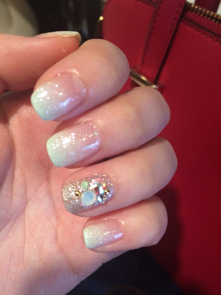 Ombre Mint Nail Art With Stone Design Yelp