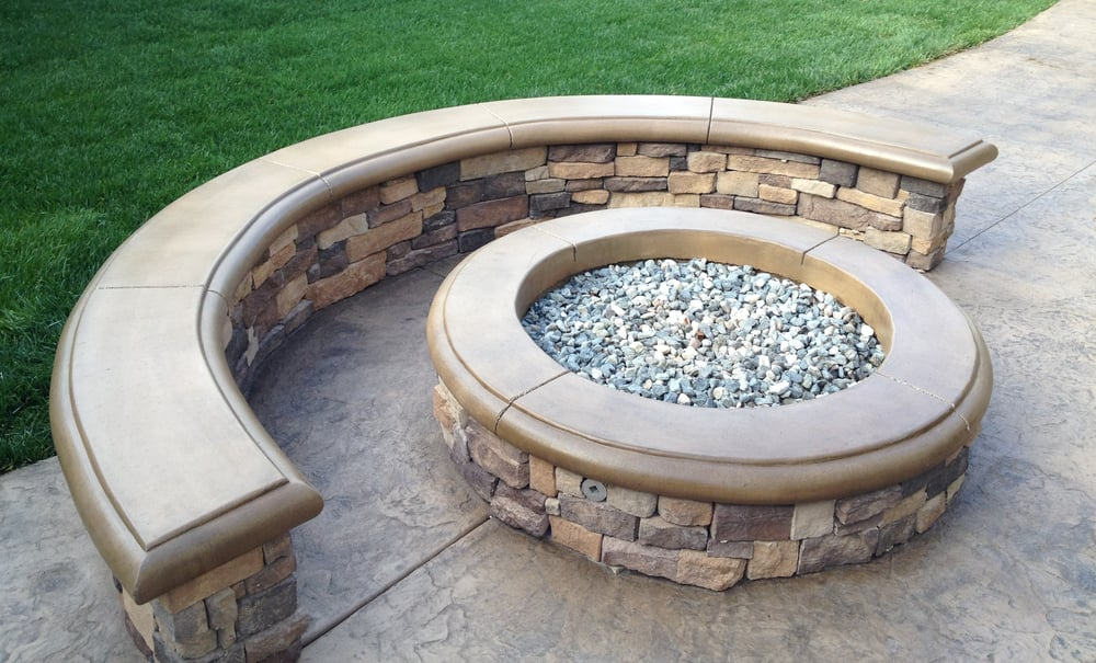 Custom Built In Fire Pit With A Poured In Place Concrete