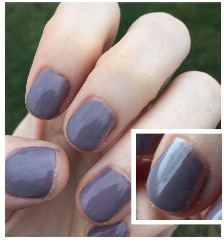 Simple gel polish nails, poorly done. Lumpy puckered parts and a ...