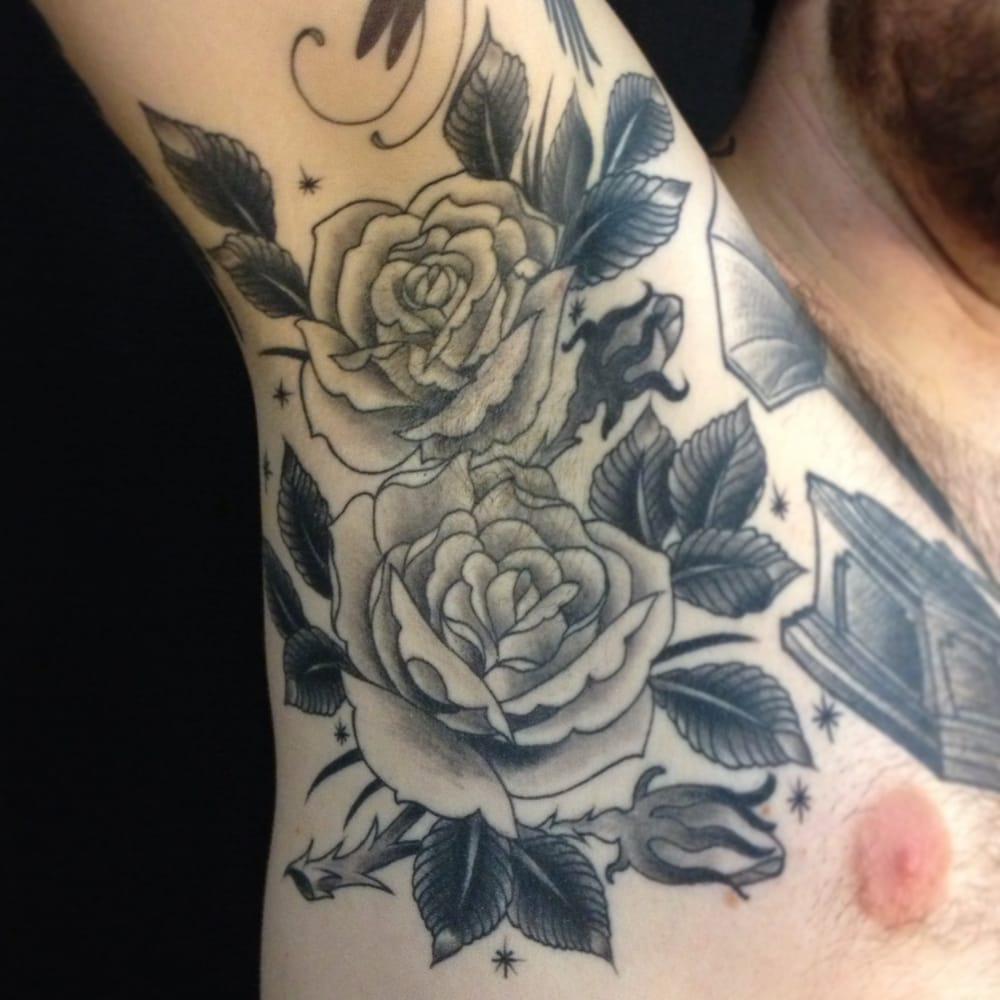 Traditional Black And Grey Tattoo: Classic American Traditional Tattoo Rose Arm Pit Tattoo By