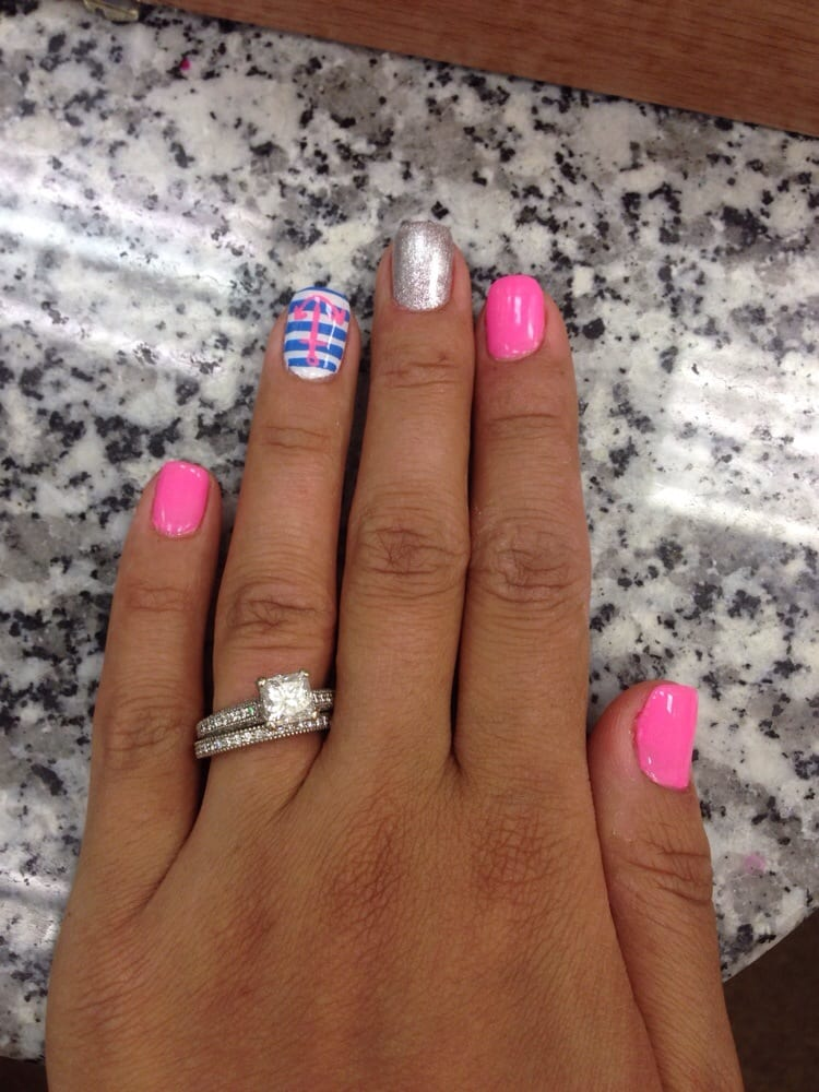 Shellac Nails With Nautical Design By Kim Yelp