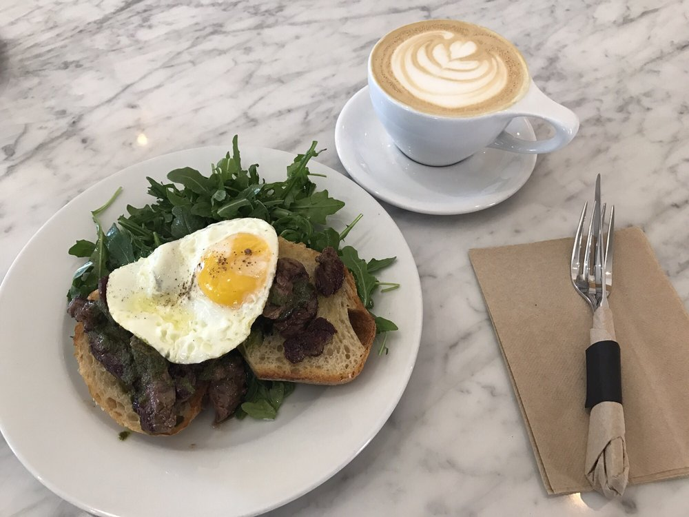 Steak eggs and sweet latte yelp for The combine kitchen