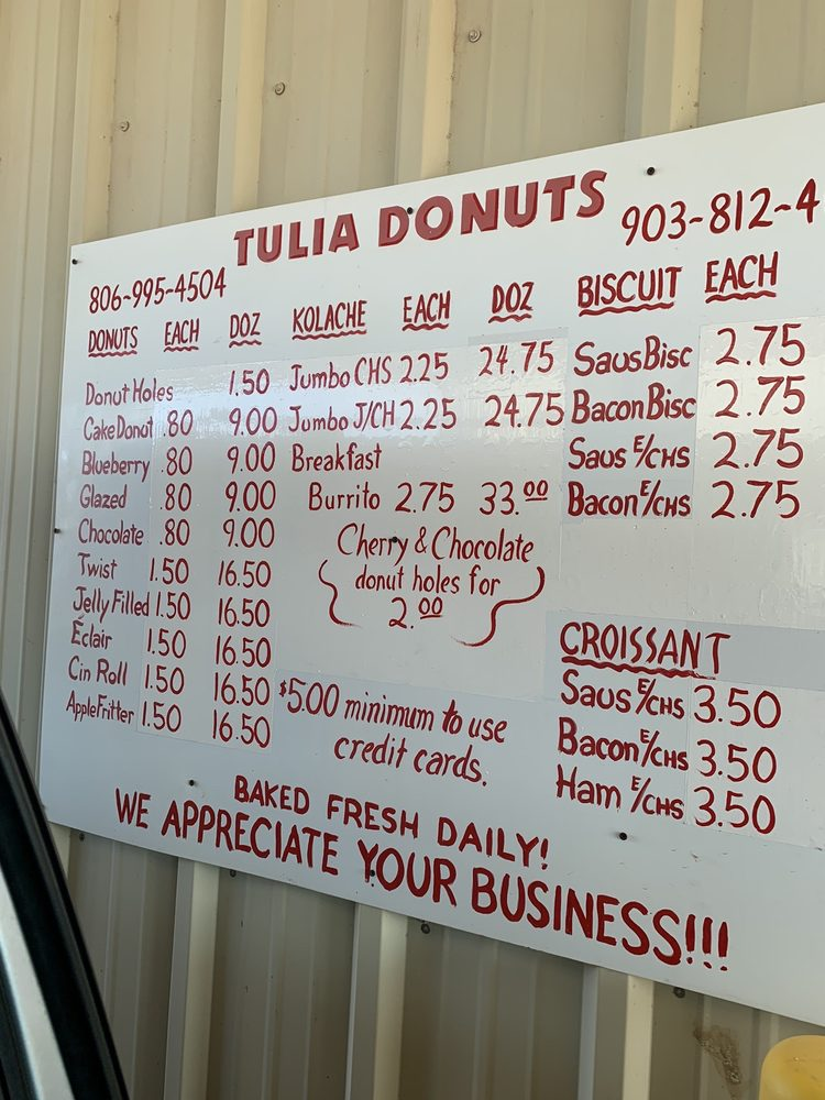 Tulia Donuts: 406 N Hwy 87, Tulia, TX