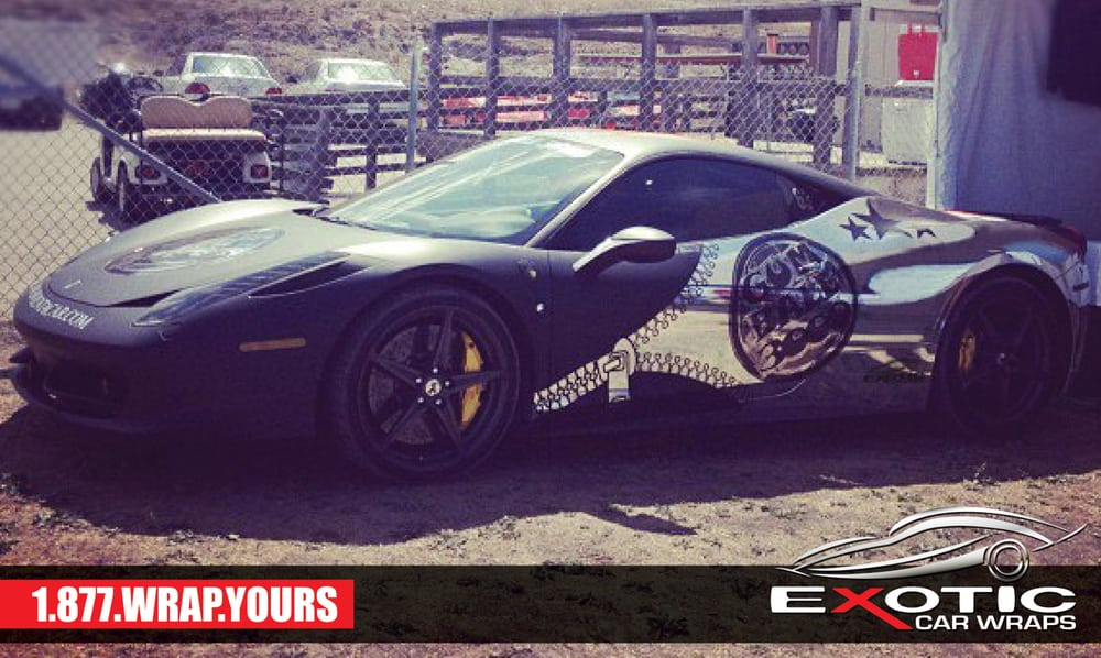 Ferrari F458 Chrome Wrap Mixed With Matte Black Wrap For Gumball