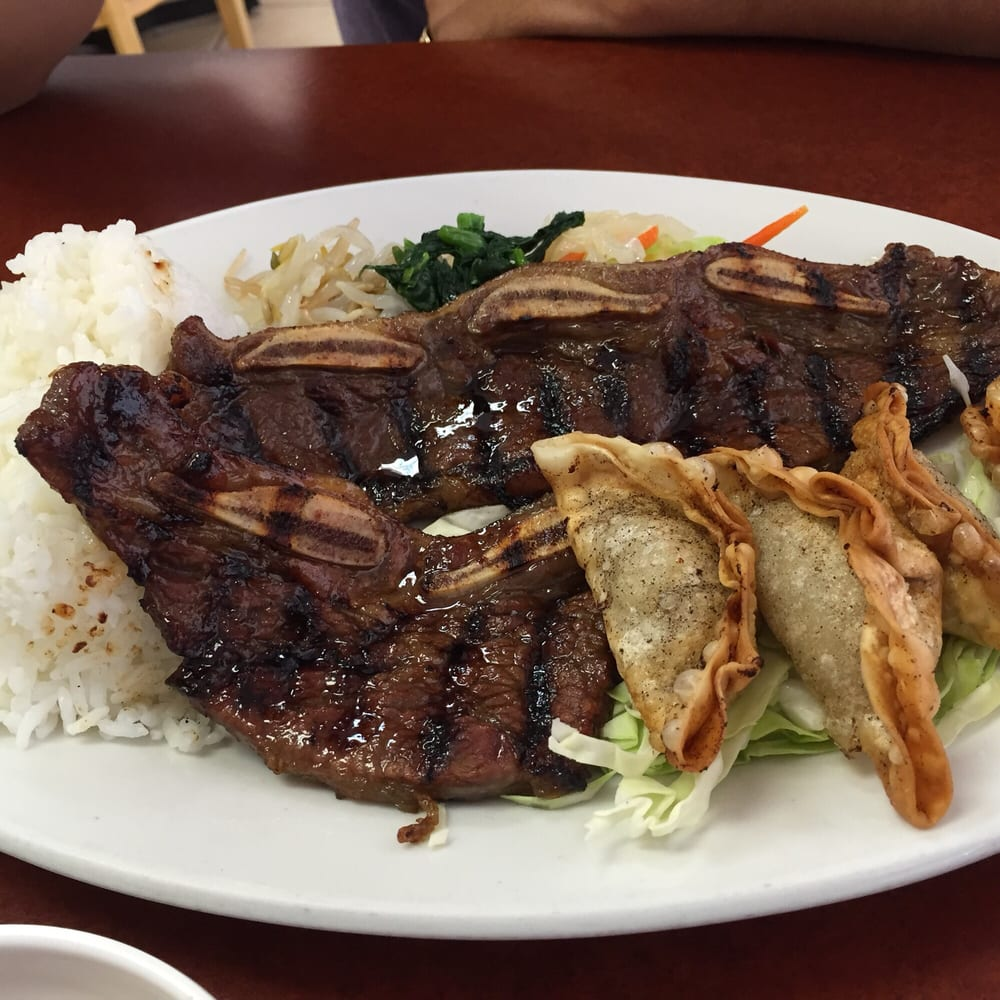 Kalbi And Mandoo Mix Plate. Testy But Wish I Had More Side