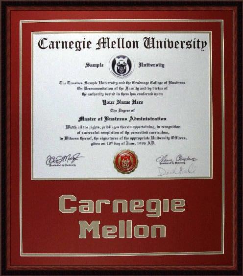 Carnegie Mellon Diploma and Degree Frame - Yelp