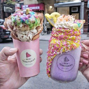 "Photo of New Territories - New York, NY, United States. Easter collab w/ Jae NYC Eats ""SPACE JAM"" bubble waffle, Sicilian pistachio ice cream & ""BUGS BUNNY"" Ube milkshake"