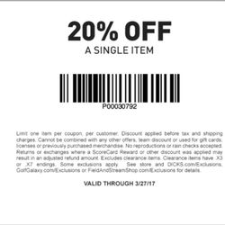 Dick Sporting Goods Store Coupons