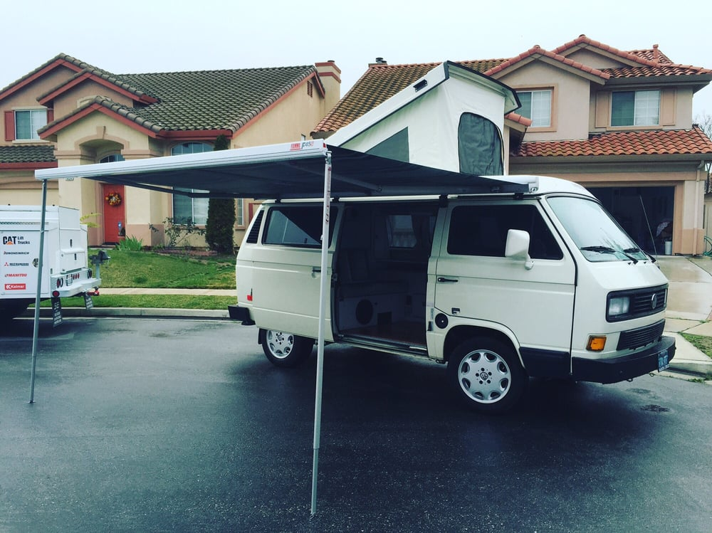 New 11'6 Fiamma awning, GoWesty hemp blend awning and