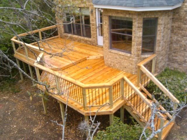 Custom Cedar 2 Tier Deck With Handrail And Stairs Custom