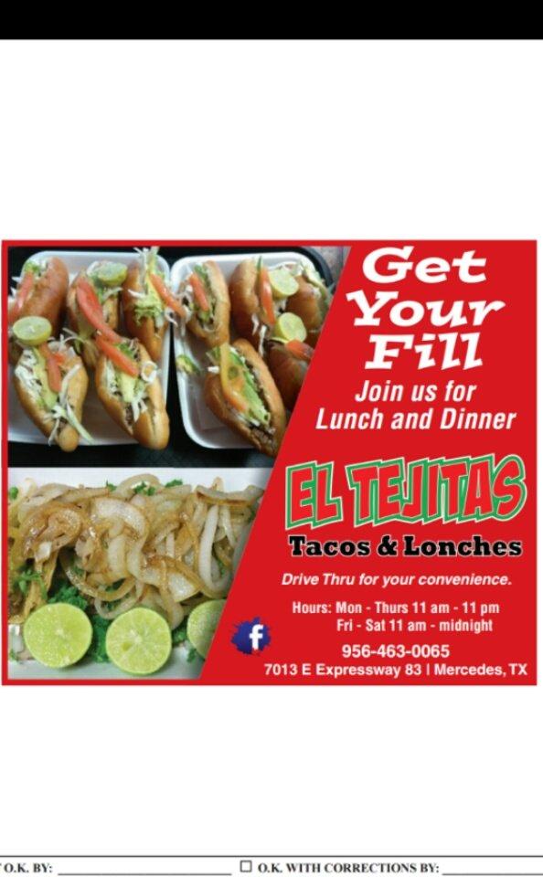 El Tejitas Tacos & Lonches: 7013 E Expressway 83, Mercedes, TX