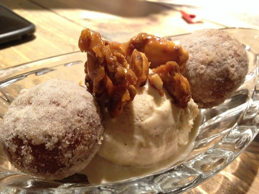 ... Cinnamon honey ice cream, apple jam donut holes and bacon pecan