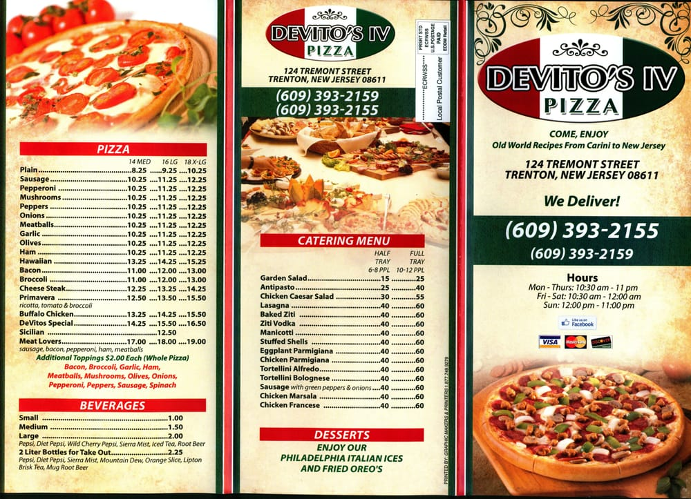 Online Menu of Devitos Pizza IV Restaurant, Trenton, New Jersey ...