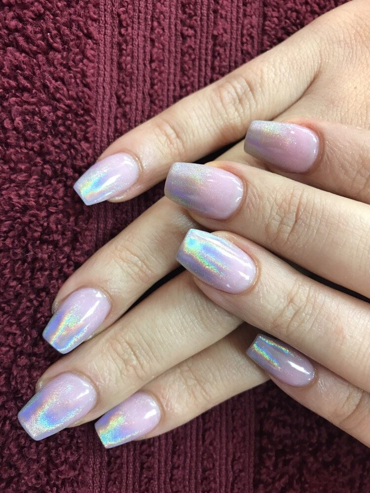 holographic ombre nails on narrow square shape - Yelp