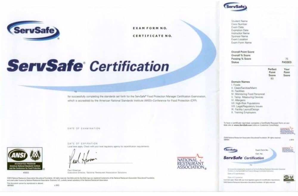 ServSafe Certification - Yelp