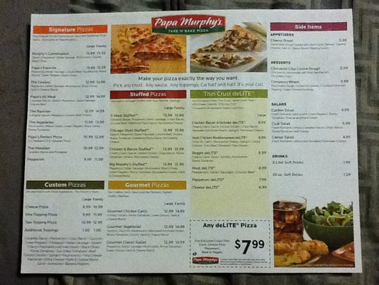 Papa Murphy's latest prices for the whole menu of Papa Murphy's, including pizza, sandwiches, salads, desserts, side items and drinks. Order your favorite now/5().