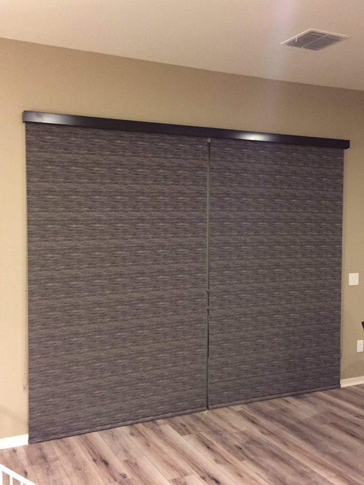 Roller Shades With Black Out Fabric Used On Sliding Glass Door Yelp