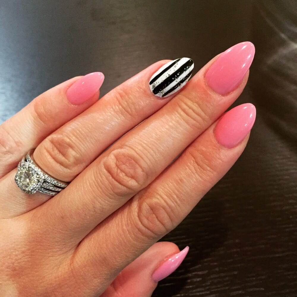 Full set of stiletto acrylic nails with gel polish. All done by Tom ...